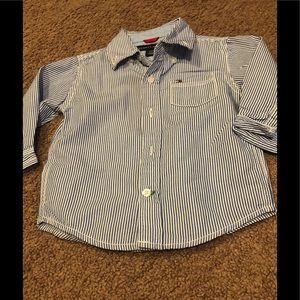 Preppy striped Tommy Hilfiger dress shirt.